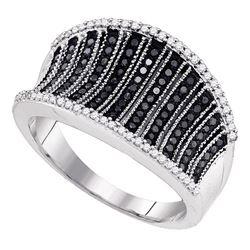 0.45 CTW Black Color Diamond Cocktail Concave Ring 10KT White Gold - REF-49M5H