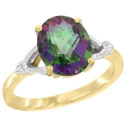 Natural 2.41 ctw Mystic-topaz & Diamond Engagement Ring 14K Yellow Gold - REF-33G8M