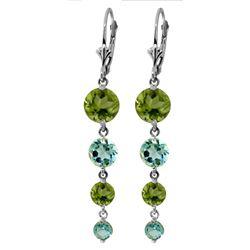 Genuine 7.8 ctw Blue Topaz & Peridot Earrings Jewelry 14KT White Gold - REF-46T3A