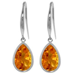 Genuine 5 ctw Citrine Earrings Jewelry 14KT White Gold - REF-35Y2F