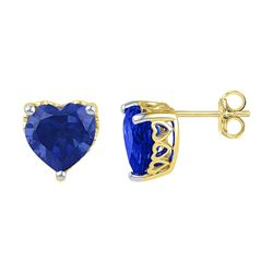7 CTW Created Blue Sapphire Heart Stud Earrings 10KT Yellow Gold - REF-14M9H