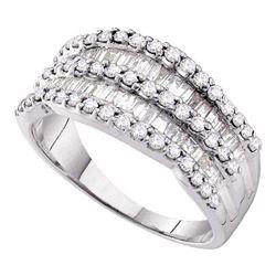 1 CTW Diamond Cocktail Ring 14KT White Gold - REF-75K2W