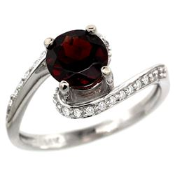 Natural 1.25 ctw garnet & Diamond Engagement Ring 14K White Gold - REF-52Z6Y