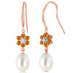 Genuine 9.01 ctw Citrine, Pearl & Diamond Earrings Jewelry 14KT Rose Gold - REF-44H3X