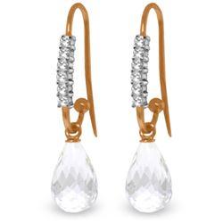 Genuine 4.68 ctw White Topaz & Diamond Earrings Jewelry 14KT Rose Gold - REF-40V7W