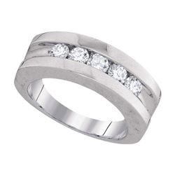 1 CTW Mens Channel-set Diamond Single Row Wedding Ring 10KT White Gold - REF-139H5M