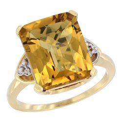 Natural 5.44 ctw whisky-quartz & Diamond Engagement Ring 10K Yellow Gold - REF-30F2N