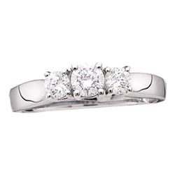1.53 CTW Diamond 3-stone Bridal Engagement Ring 14KT White Gold - REF-236M3H