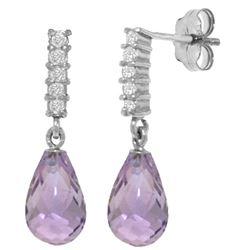 Genuine 4.65 ctw Amethyst & Diamond Earrings Jewelry 14KT White Gold - REF-36X2M