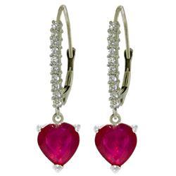 Genuine 3.2 ctw Ruby & Diamond Earrings Jewelry 14KT White Gold - REF-72K3V