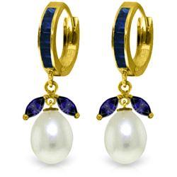 Genuine 10.30 ctw Sapphire & Pearl Earrings Jewelry 14KT Yellow Gold - REF-60Z3N