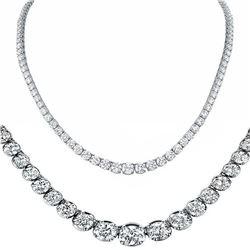 Natural 9.01CTW VS2/I-J Diamond Tennis Necklace 14K White Gold - REF-690F9N