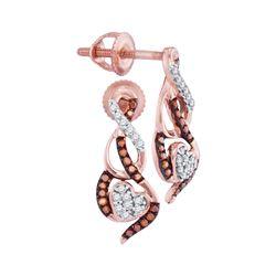 0.15 CTW Red Color Diamond Heart Earrings 10KT Rose Gold - REF-19K4W
