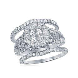 2 CTW Princess Diamond Soleil Bridal Engagement Ring 10KT White Gold - REF-209K9W