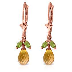 Genuine 3.4 ctw Citrine & Peridot Earrings Jewelry 14KT Rose Gold - REF-26F6Z
