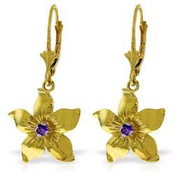 Genuine 0.20 CTW Amethyst Earrings Jewelry 14KT Yellow Gold - REF-65A6K