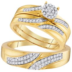 0.45 CTW His & Hers Diamond Cluster Matching Bridal Ring 10KT Yellow Gold - REF-52M4H