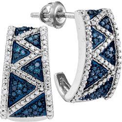 0.10 CTW Blue Color Diamond Half J Hoop Earrings 10KT White Gold - REF-25N4F
