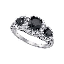 2 CTW Black Color Diamond 3-stone Bridal Ring 10KT White Gold - REF-59H9M