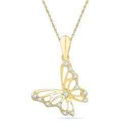 0.07 CTW Diamond Butterfly Bug Pendant 10KT Yellow Gold - REF-7F4N