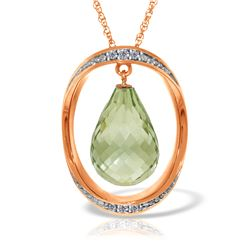 Genuine 9.6 ctw Amethyst & Diamond Necklace Jewelry 14KT Rose Gold - REF-109X6M