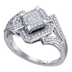 0.35 CTW Diamond Diagonal Square Cluster Ring 10KT White Gold - REF-41Y9X