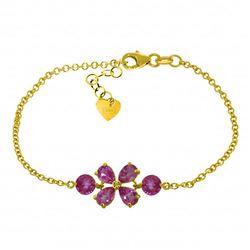 Genuine 3.15 ctw Pink Topaz Bracelet Jewelry 14KT Yellow Gold - REF-56Y5F