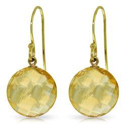 Genuine 12 ctw Citrine Earrings Jewelry 14KT Yellow Gold - REF-24Z4N