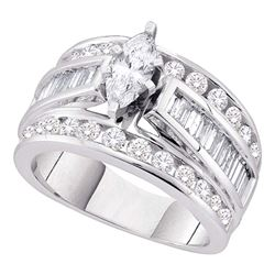 3 CTW Marquise Diamond EGL Certified Bridal Engagement Ring 14k White Gold - REF-449W9K