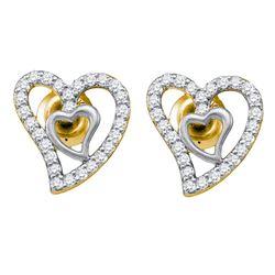 0.19 CTW Diamond Heart Love Earrings 10KT Yellow Gold - REF-19F4N