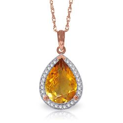 Genuine 3.66 ctw Citrine & Diamond Necklace Jewelry 14KT Rose Gold - REF-70A3K