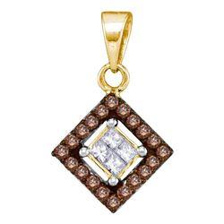 0.30 CTW Cognac-brown Color Diamond Diagonal Square Pendant 10KT Yellow Gold - REF-16F4N