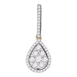 0.75 CTW Diamond Teardrop Pendant 10KT Yellow Gold - REF-52M4H