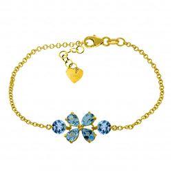 Genuine 3.15 ctw Blue Topaz Bracelet Jewelry 14KT Yellow Gold - REF-56H4X