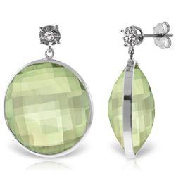 Genuine 36.06 ctw Green Amethyst & Diamond Earrings Jewelry 14KT White Gold - REF-87W5Y