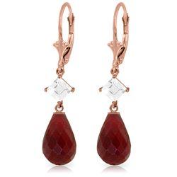 Genuine 18.6 ctw Ruby & White Topaz Earrings Jewelry 14KT Rose Gold - REF-46V7W