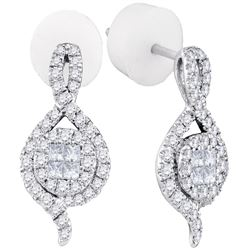 0.51 CTW Princess Diamond Soleil Spade Cluster Earrings 14KT White Gold - REF-57M2H