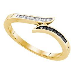 0.10 CTW Black Color Diamond Slender Bypass Ring 10KT Yellow Gold - REF-14W9K