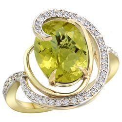 Natural 6.53 ctw lemon-quartz & Diamond Engagement Ring 14K Yellow Gold - REF-70G6M