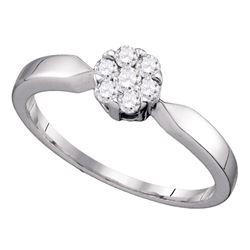 0.25 CTW Flower Cluster Diamond Bridal Wedding Engagement Ring 10KT White Gold - REF-22W4K