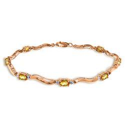 Genuine 2.01 ctw Citrine & Diamond Bracelet Jewelry 14KT Rose Gold - REF-76T7A