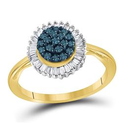 0.50 CTW Blue Color Diamond Framed Cluster Ring 10KT Yellow Gold - REF-22W4K