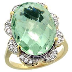 Natural 13.83 ctw green-amethyst & Diamond Engagement Ring 14K Yellow Gold - REF-124K4R