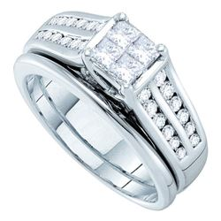 1 CTW Princess Diamond Bridal Engagement Ring 14KT White Gold - REF-146Y9X