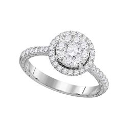 0.88 CTW Diamond Bridal Wedding Engagement Ring 14KT White Gold - REF-112M5H
