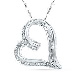 0.16 CTW Diamond Heart Outline Pendant 10KT White Gold - REF-22N4F