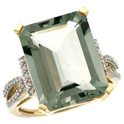 Natural 12.14 ctw green-amethyst & Diamond Engagement Ring 14K Yellow Gold - REF-66V2F