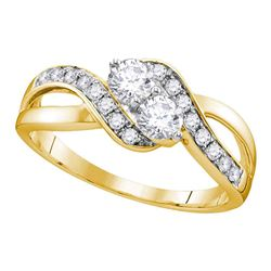 0.60 CTW Diamond 2-stone Hearts Together Bridal Ring 10KT Yellow Gold - REF-75M2H