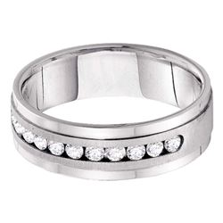 0.50 CTW Mens Diamond Wedding Ring 14KT White Gold - REF-89M9H