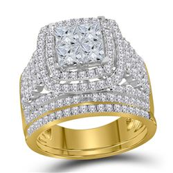 2.95 CTW Princess Diamond Halo Bridal Engagement Ring 14KT Yellow Gold - REF-314X8Y